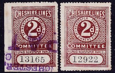 CHESHIRE LINES COMMITTEE: 2 x 2d Railway Newspaper & Parcel Stamps - Used