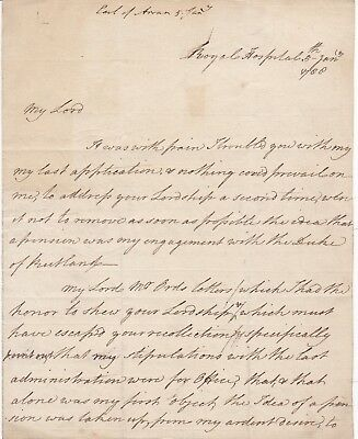 1788 Lord Arran Letter Thinks He Deserves To Be Postmaster General Of Ireland