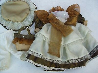Alte Puppenkleidung Fancy Dress Hat Bag Outfit vintage Doll clothes 40 cm Girl