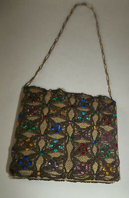 Vtg OLD Handbag Purse with Colorful Rhinestones and Chain Handle - Have to See