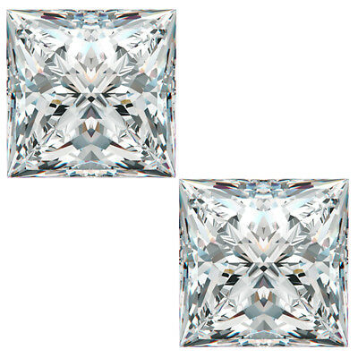 2.04ct VVS1-2pc/5.60mm WHITE H-I COLOR PAIR LOOSE PRINCESS MOISSANITE PAIR