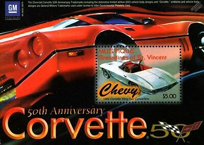1964 Chevy Chevrolet Corvette Sting Ray / Stingray Convertible Car Stamp Sheet