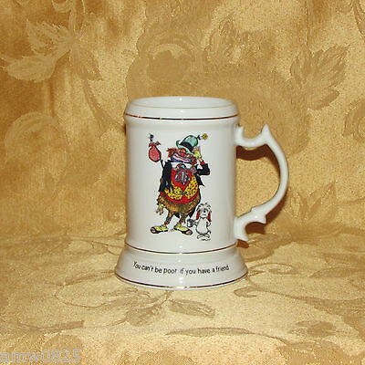 VINTAGE BEER MUG FRIENDSHIP CLOWN DOG YOU CAN'T BE POOR...HAVE A FRIEND gift