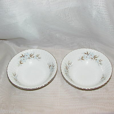 2 Royal Standard Dawn Soup Cereal Bowls Fine Bone China England Blue Flowers