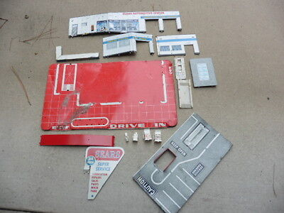1950s Marx Sears Allstate Gas Station Service Center Tin Litho Play Set As Found