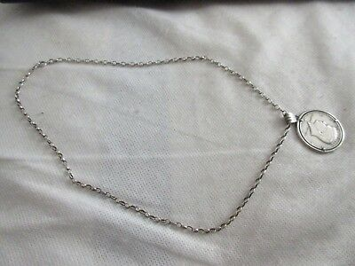 Vintage Silver 1964 Half Dollar Coin Mounted With A Silver Necklace