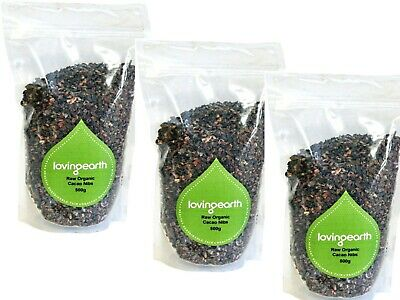 3 x 500g LOVING EARTH Raw Organic Cacao Nibs 1.5kg