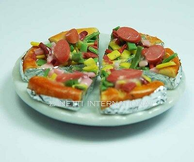 6 Dollhouse Miniature Pizza Slices on White Ceramic Plate * Mini Food Dish