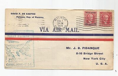 1929 First Flight Cover, Canal Zone To Us W/scott# 106, C3