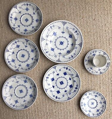 8 Furnivals Denmark Blue Mixed Lot, Expresso cup, saucers 20.25 Bowl 18cm Plate