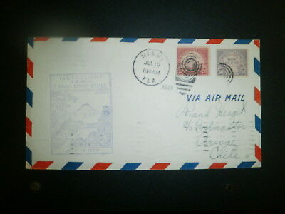 1929 First Flight Cover:  Us To Chile Via Canal Zone, W/scott# 567, 570