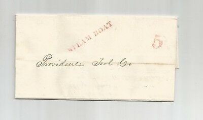1849 Stampless Folded Letter Postmark, Steam Boat, Invoice, Paid 5