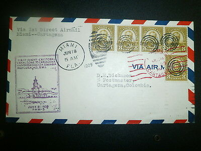 1929 First Flight Cover:  Us To Columbia Via Canal Zone