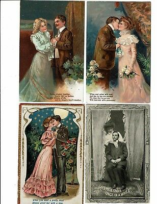 4 Card Lot, Comic Romance, Two From Series, Give A Smile, Pretty Miss Kiss!