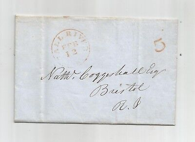 1859 Stampless Folded Letter From Falls River Ms., Paid 5,
