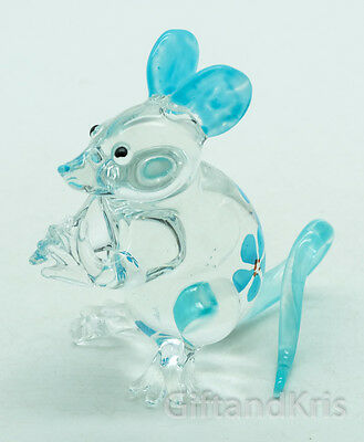 Figurine Animal Hand Blown Glass Blue Flower Rat Mouse Mice - GPRA007