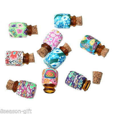 10PCs Mini Round Shaped Glass Bottles Containers Vials With Corks