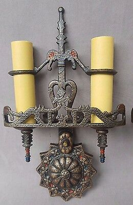 1920's Dragon & Torch Wall Sconces, Cast Bronze, Tudor Style, Rewired
