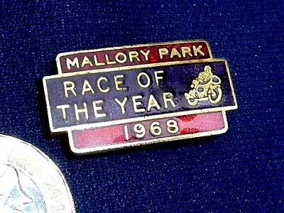 1969 Mallory Park Race Of The Year Enamel Badge Pin Rare Old Motorcycle Racing