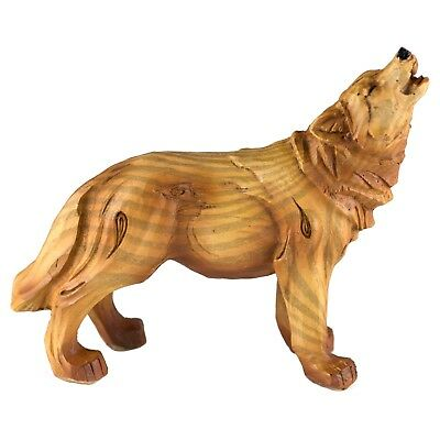 Small Wolf Carved Wood Look Figurine Resin 4.25 Inch Long New!