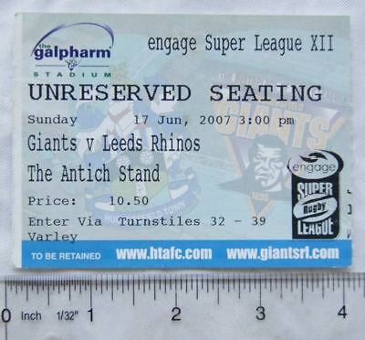 2007 ticket Huddersfield Giants v. Leeds Rhinos