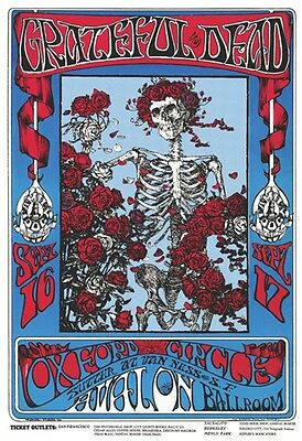~~ Grateful Dead Skeleton & Roses  24X36 Poster ~ Last One! ~~