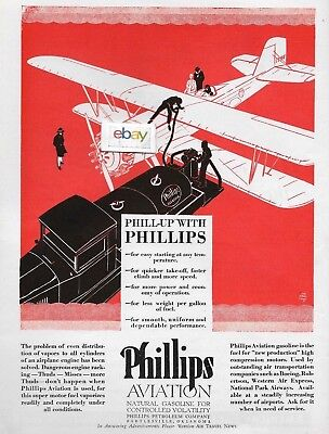 Phillips 66 Gasoline 1929 Phill-Up With Phillips Aviation Gasoline Ad