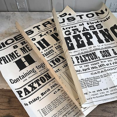 Set of 3 original posters from agricultural auctions dated 1876, 1891 & 1893