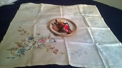 Vintage Linen Table Cloth With Design For Embroidery + Threads, Started