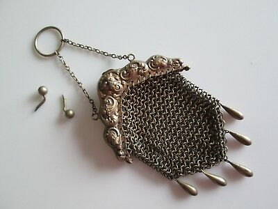 Victorian Sterling Mesh Coin Purse Lion Head Needs Repair To Kiss Lock See Photo
