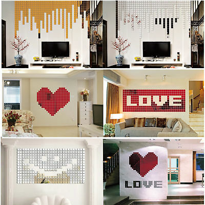 100Pcs 3D Silver Gold Red Acrylic Mural Mosaic Mirror Effect Room Wall Sticker