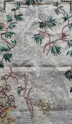 LARGE VINTAGE EMBROIDERY KIT Bird Flowers PANEL + YARN, INSTRUCTIONS part done