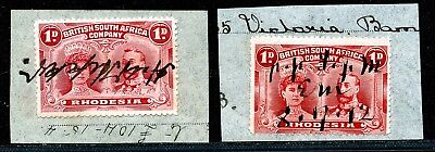 RHODESIA BSAC DOUBLE HEADS 1d X2 PERF.14 USED AS FISCALS ON PIECE.PEN CANCEL.A12