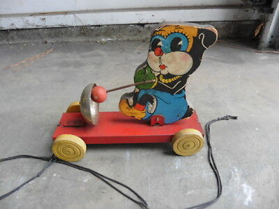 1930s Miss Trix Drummer Gong Bell Pull Toy Litho On Wood Image Tin Chassis Works