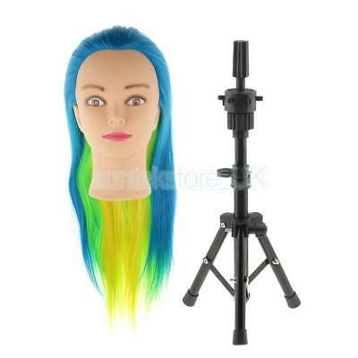 Adjustable Metal Cosmetology Holder Tripod Stand Mannequin Practice Head Set