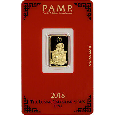 5 gram Gold Bar - PAMP Suisse - Lunar Year of the Dog - 999.9 Fine in Assay