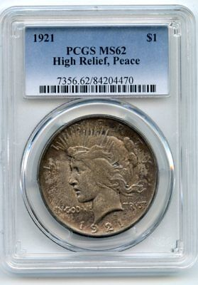 1921 (High Relief) Silver Peace Dollar MS 62 PCGS.