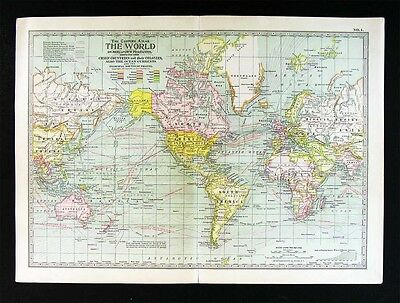 1902 Century Atlas Map - World - North South America Europe Africa Asia Colonies
