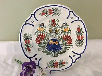Hand painted Quimper Pottery Plate With Floral Design Vgc