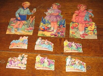 Vintage Scraps -  Mixed lot -  children with flowers