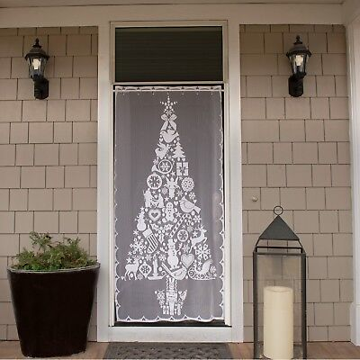 Christmas Tree Scenic Curtain Panel by Heritage Lace, Indoor or Outdoor Use