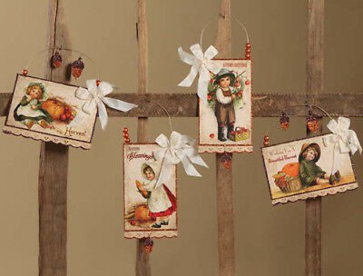 Bethany Lowe Harvest Postcard Ornament 4pc Fall Thanksgiving Vintage Decorations