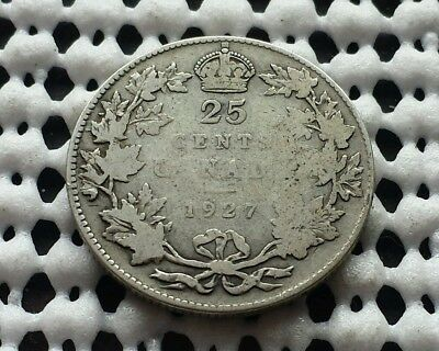 1927 ❀ King George V ❀ 25 Cent Canada Silver Quarter Dollar Coin