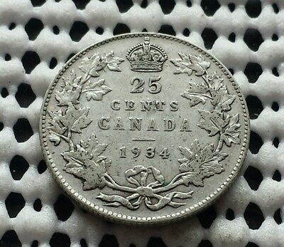 1934 ❀ King George V ❀ 25 Cent Canada Silver Quarter Dollar Coin