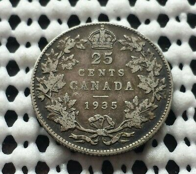 1935 ❀ King George V ❀ 25 Cent Canada Silver Quarter Dollar Coin