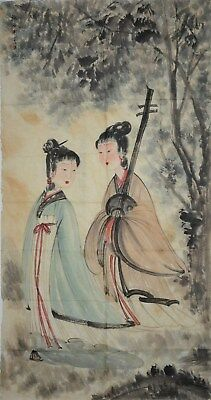 Fine Large Chinese Painting Signed Master Fu Baoshi No Reserve Unframed Y3833