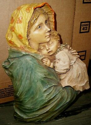 "8"" Poignant Anri Italy Polychromed Wood Madonna & Child Wall Hanger Plaque"