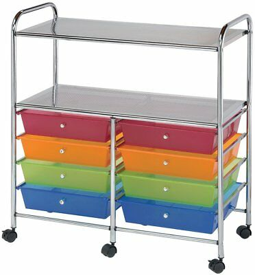 Blue Hills Studio SC8MCDW-12-S Storage Cart 8-Drawer Wide with 2-Shelf