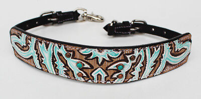 Western Leather Wither Strap Breast Collar Tooled Show Tack Turquoise 105M80223