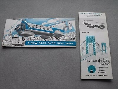1957-58  2 Brochures NEW YORK AIRWAYS Vertol 44B Schedule June 1, 1958